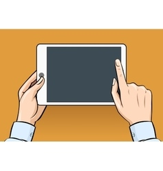 Hands holding and touching on digital tablet in vector image