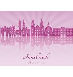 Innsbruck skyline in purple radiant vector