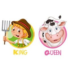 King and queen on round badge vector