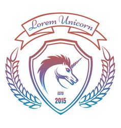 medieval coat of arms with unicorn vector image vector image