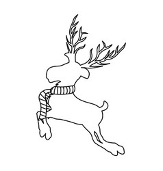 Monochrome contour of reindeer jumping with big vector