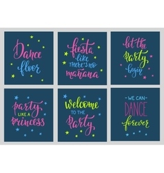 Party signs card lettering quote typography set vector