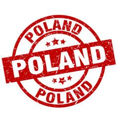 Poland red round grunge stamp vector