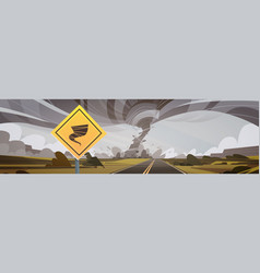 Road sign warning about tornado twister hurricane vector