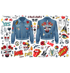 rock and roll theme icons set vector image
