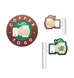 Set of logos and signs cup in hand for coffee to vector image