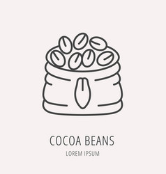 simple logo template cocoa beans vector image vector image