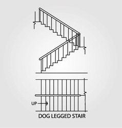 Top view and front view of a dog legged staircase vector