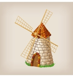 Traditional old windmill building single object vector