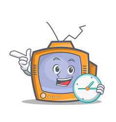 Tv character cartoon object with clock vector