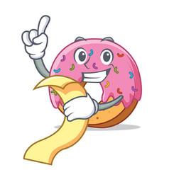 With menu donut mascot cartoon style vector