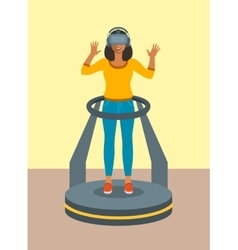 Woman virtual reality glasses on game platform vector image vector image