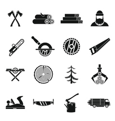 Timber industry icons set simple style vector