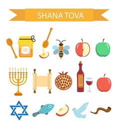 Set icons on the jewish new year rosh hashanah vector