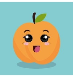 Cartoon orange fruit facial expression design vector