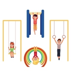 Kids at playground hanging and climbing on monkey vector