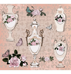 Collection of vases roses and butterfly vector