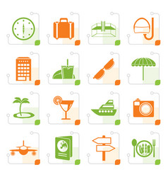 Stylized travel trip and tourism icons vector