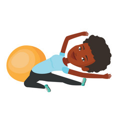 Young woman exercising with fitball vector