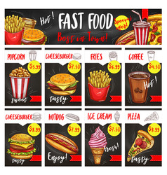 Fast food restaurant menu board template design vector