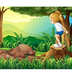 A girl in the woods vector image