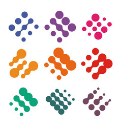 Abstract logo set from dots colorful vector