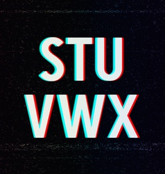 Font with tv stereo effect from s to x vector