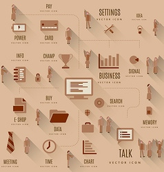 Set of business icons and people vector