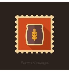 Sack of grain retro flat stamp with long shadow vector