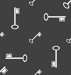 Key icon sign seamless pattern on a gray vector