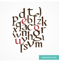 Hand drawn medieval alphabet old vector