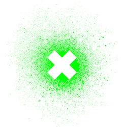 Graffiti x mark spray design element white green vector