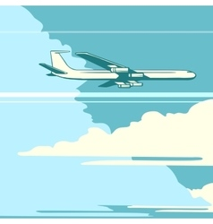 Retro airplane in the sky vector