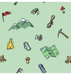 Seamless pattern hand drawn camping adventure set vector