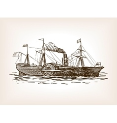 Steamship sketch style vector
