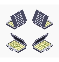Isometric open briefcase with the money vector