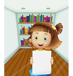 A girl holding an empty paper inside the room vector image