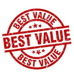best value round red grunge stamp vector image