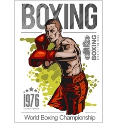Boxing champ poster with boxer on white background vector