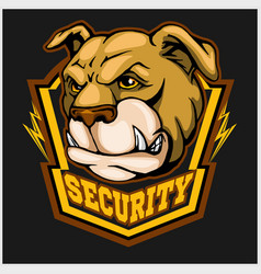 Bulldog head mascot - security emblem vector