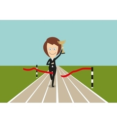 Business woman crossed finish line with trophy vector