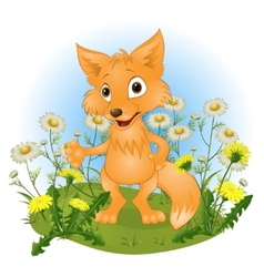 Cheerful young fox on a glade vector