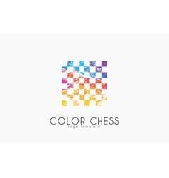 Chess logo geometric logo coloe chess logo vector