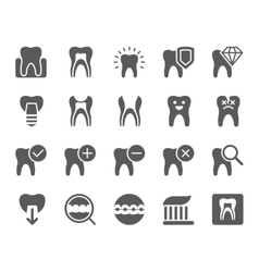 Dental black icons set vector image