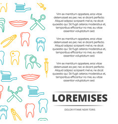 Dental poster design with colorful icons vector