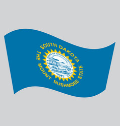 flag of south dakota waving on gray background vector image
