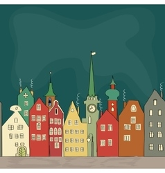 Freehand drawing of old colourful buildings vector