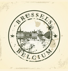Grunge rubber stamp with brussels belgium vector