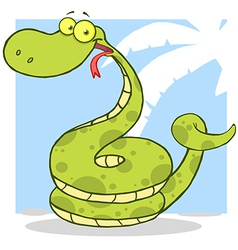 Happy snake cartoon character vector