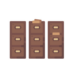 Library card catalog flat old document storage vector